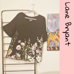 Lame Bryant floral t-shirt w ruffle sleeves LNWOT